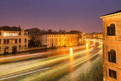 Boat light trails on Grand Canal in Venice at night Royalty Free Stock Images