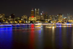 Boat Light Trails on River in Portland Oregon Royalty Free Stock Photography