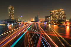 Boat light trails Stock Photography