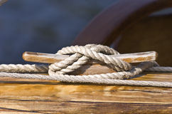 Boat line tie down. A boat line tie down on a dock Royalty Free Stock Images