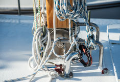 Boat line. A boat line tie down on a deck Stock Images