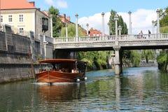 Boat on the Ljubljanica in Ljubljana Slovenia Royalty Free Stock Photos