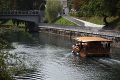 Boat on Ljubljanica River Stock Images
