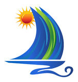 Boat logo. Boat waves and sun logo vector eps 10 Royalty Free Stock Photography