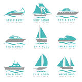 Boat logo and yacht label set. Fast motor, speedboats waves signs vector illustration Royalty Free Stock Image