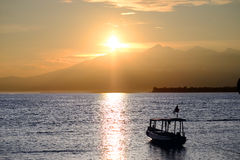Boat with lombok volcano Rinjani Royalty Free Stock Photo
