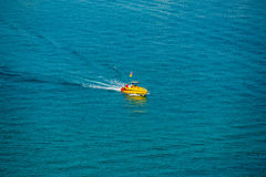 Boat. Lonely motorboat in the sea Stock Image