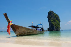 Boat longtail in the sea. Boat long tail in Krabi,Thailand Stock Image