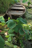 Boat and Lotus Flowers Stock Photos