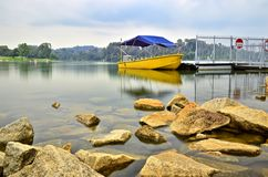 Boat at Lower Peirce Reservoir, Singapore Stock Image