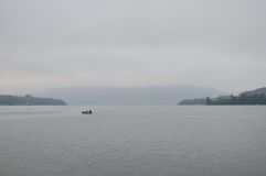 Boat on Luzern lake in cloudy day Stock Photography