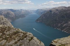 Boat in Lysefjord Royalty Free Stock Photo