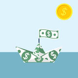 Boat made of dollar banknote Stock Photos