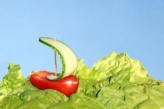 Boat, made of fresh tomato and cucumber Royalty Free Stock Image