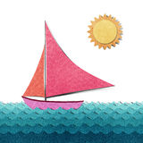 Boat made from recycled paper Royalty Free Stock Image