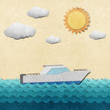 Boat made from recycled paper Royalty Free Stock Photography