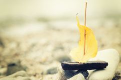 A boat made of a yellow autumn leaf on the river bank, toned photo, concept, an instagram Stock Photography