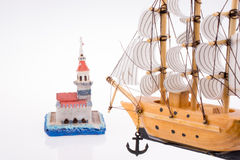 Boat and the Maiden`s Tower. In view Stock Photos