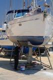 Boat in maintenance Stock Image