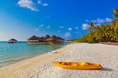 Boat on Maldives beach Royalty Free Stock Photography