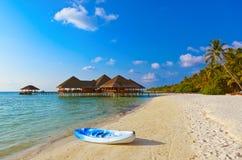 Boat on Maldives beach Royalty Free Stock Photos