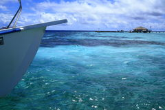 Boat in the maldives coral sea Stock Image