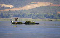 Boat with man on Inle Lake. Stock Image