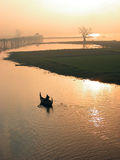 Boat man rowing from Ubein Bridge Royalty Free Stock Photo