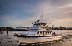 Boat in the Manasquan Inlet, Point Pleasant Beach, New Jersey. Royalty Free Stock Photo