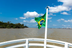 Boat on Marajo Bay in Belem do Para, Brazil.  Stock Photos
