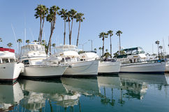 Boat at the marina. This is a photograph of a boat moored in the Long Beach, California marina stock image