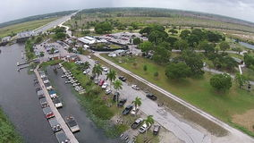 Boat marina aerial view stock video footage