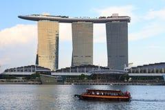 Boat and Marina Bay Sands hotel, Singapore Royalty Free Stock Photo