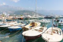 Boat marina in Budva in Montenegro Stock Photo