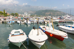 Boat marina in Budva, Montenegro Stock Images