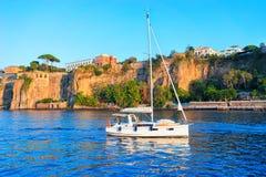 Boat in Marina Grande port in Sorrento. Tyrrhenian sea, Amalfi coast, Italy Stock Photos