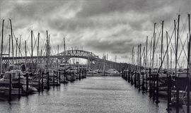 Boat Marina and Harbor Bridge. Boats tethered at the marina in front of a harbor bridge royalty free stock image