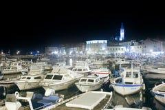 Boat marina in Rovinj at night Stock Photo