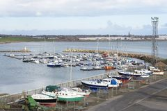 Boat marina for security of sailing club at Peterhead stock images
