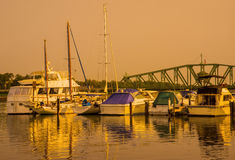 Boat Marina Sunset Royalty Free Stock Images