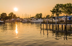 Boat Marina Sunset Stock Photography