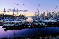 Boat marina at sunset. royalty free stock images