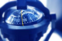 Boat marine compass in black blue light backlight Royalty Free Stock Images