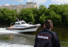 Boat marine parts of internal troops of the MIA of Russia on the Moscow river. Stock Images