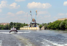 Boat marine parts of internal troops of the MIA of Russia on the Moscow river. Stock Photos
