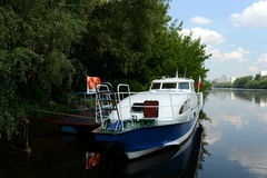 Boat marine parts of internal troops of the MIA of Russia on the Moscow river. Stock Photo