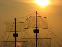 Boat Mast. River Sava, Belgrade, Serbia Stock Images