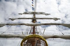 Boat mast with furled sails. Pirate sailboat mast with furled sails Stock Images