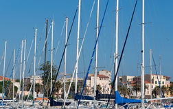 Boat masts in Alghero Stock Photo