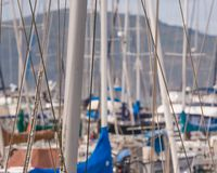 Boat masts in Fisherman`s Wharf area of San Francisco stock images
